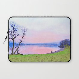 Calm Pink Sunset over Lake Windermere, Lake District, England Watercolor Painting Laptop Sleeve