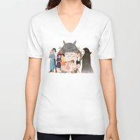 hayao miyazaki V-neck T-shirts featuring Hayao Miyazaki's Family by Naineuh