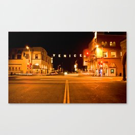 Venice Sign California- Night Canvas Print