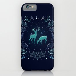 Deers in the Moonlight - Frosted Mint iPhone Case