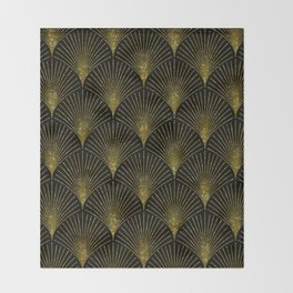 Back and gold art-deco geometric pattern Throw Blanket