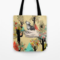 power Tote Bags featuring Found You There  by Sandra Dieckmann