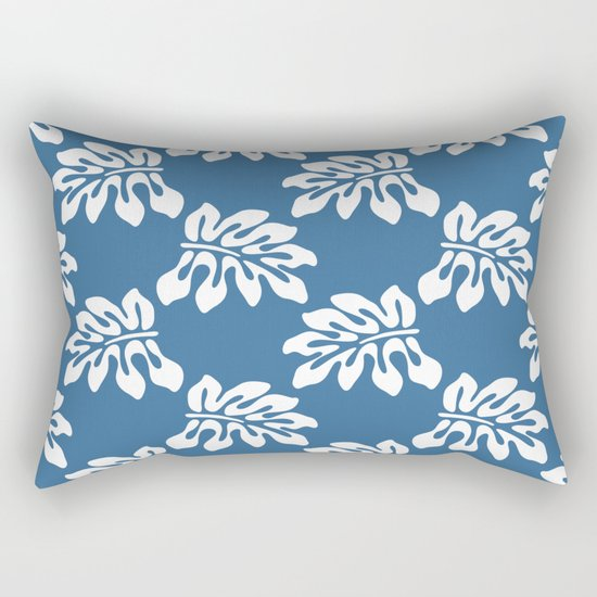 Blue White Tropical Leaf Pattern Rectangular Pillow