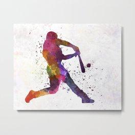 Baseball player hitting a ball Metal Print