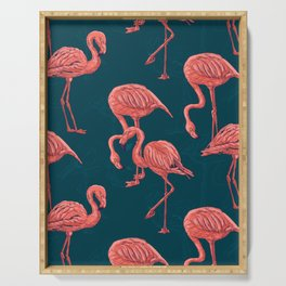 Living coral flamingo pattern Serving Tray
