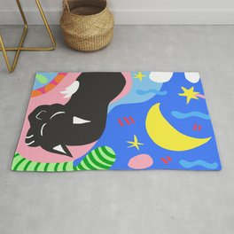 Sleeping Cat - The Black Panther - Colorful Painting Rug
