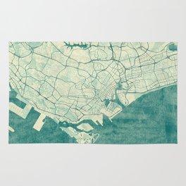 Singapore Map Blue Vintage Rug