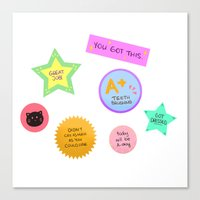stickers Canvas Prints featuring Motivational Stickers by draws but not really