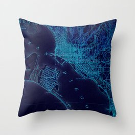 San Diego art map, blue art map Throw Pillow