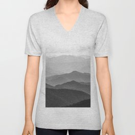 Forest Fade - Black and White Landscape Nature Photography Unisex V-Neck
