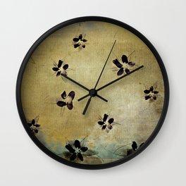 posies on vintage linen Wall Clock
