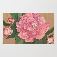 peonies Area & Throw Rugs featuring Peonies by Sayada Ramdial