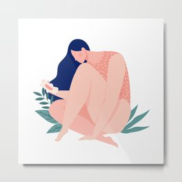 Menstruating girl with pad Metal Print