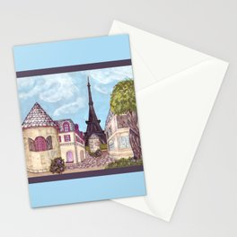 Paris Eiffel Tower inspired landscape painting by Kristie Hubler Stationery Cards