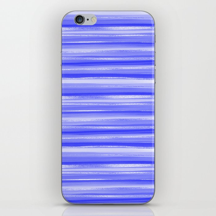 Girly Artsy Ocean Blue Abstract Stripes iPhone Skin