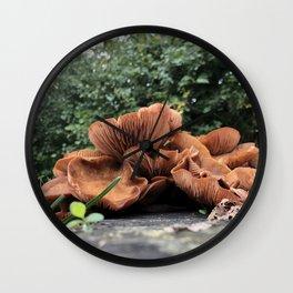 Dramatic Close Up of Mushrooms Wall Clock