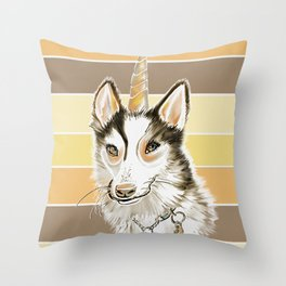 Husky Dog Unicorn Watercolor Painting on Yellow Brown Stripe Background Throw Pillow