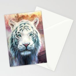 Albino tiger of India. Asian animals Stationery Cards