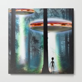 UFO Alien Forest / Flying Saucers Metal Print