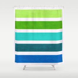 Aqua & Green Geometric Pattern Shower Curtain