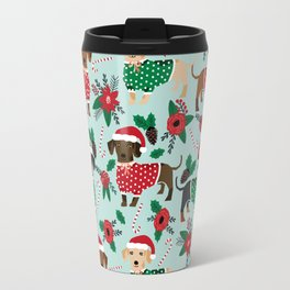 Dachshund christmas sweater poinsettia cute holiday gifts doxie dachsie dog breed Travel Mug