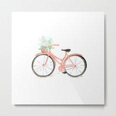 Coral Spring bicycle with flowers Metal Print