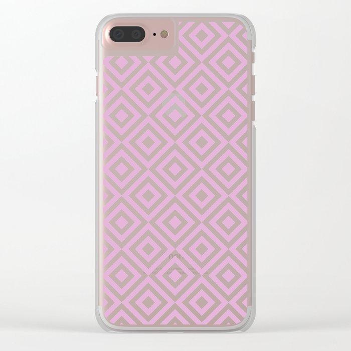 Purple Geometric Diamond Pattern Clear iPhone Case