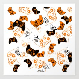 Video Game White & Orange Art Print