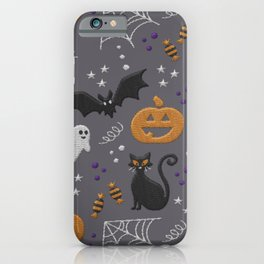 Halloween party symbols grey embroidery print iPhone Case