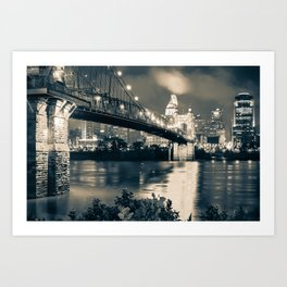 Cincinnati Skyline at Night in Sepia Art Print