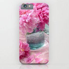Peonies In Mason Jar  iPhone Case