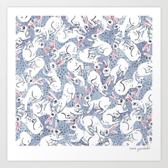 Bunny Pile Pattern Art Print