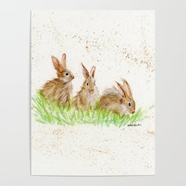 Hoppy Trio Bunnies - animal watercolor painting of rabbits Poster