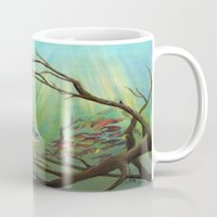 clueless Mugs featuring Large Mouth Bass and Clueless Blue Gill Fish by Sonya ann