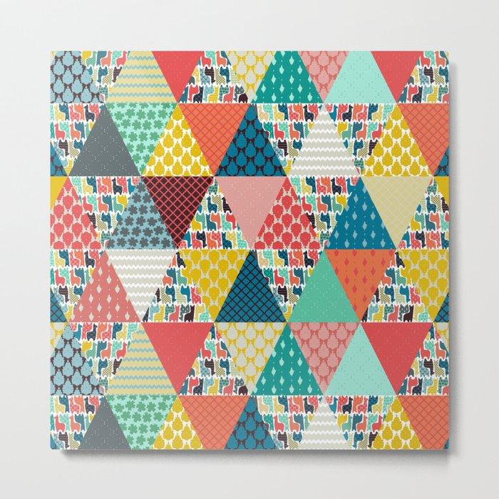 llama geo triangles Metal Print