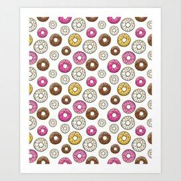Donut Pattern - White Art Print