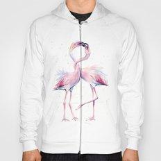 Two Flamingos Watercolor Flamingo Love Hoody