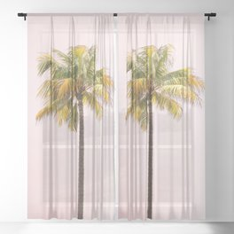 Palm Tree Photography | Pink Sunrise | Summer Vibes | Landscape | Nature | Beach Sheer Curtain