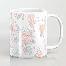 Floral bouquet pastel mint pink florals painted painted pattern basic minimal pattern print Coffee Mug