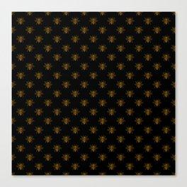 Foil Bees on Black Gold Metallic Faux Foil Photo-Effect Bees Canvas Print