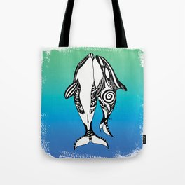 Two Orca Whales Teal Blue Tote Bag