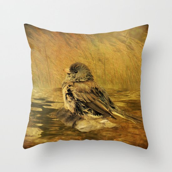 The Bathing Junco Throw Pillow