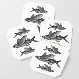 Flying Fish | Black and White Coaster