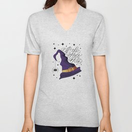 HALLOWEEN-IF THE HAT FITS-WITCH HAT Unisex V-Neck