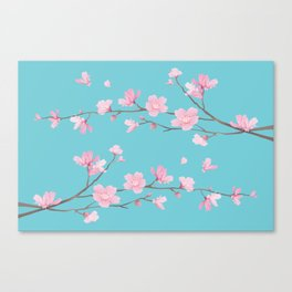 Cherry Blossom - Robin Egg Blue Canvas Print