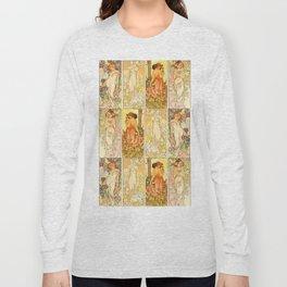 "Alphonse Mucha ""The Flowers (series): Iris, Lily, Carnation, Rose"" Long Sleeve T-shirt"