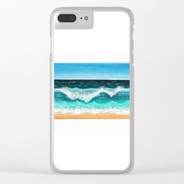 Beach Painting — Ocean Painting — Nautical Acrylic Painting — Ocean Eaves Crashing Design Clear iPhone Case