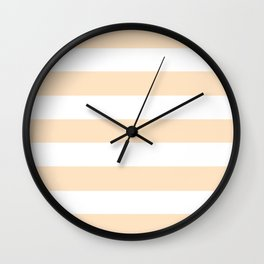 Bisque - solid color - white stripes pattern Wall Clock