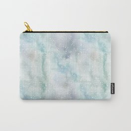 Pastel lavender teal white watercolor splatters Carry-All Pouch