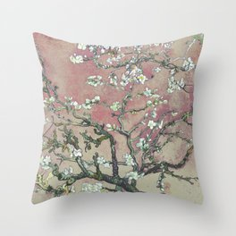 Almond Blossom - Vincent Van Gogh (pink pastel and cream) Throw Pillow